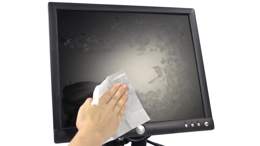 Computer Monitor Being Cleaned by Wipe