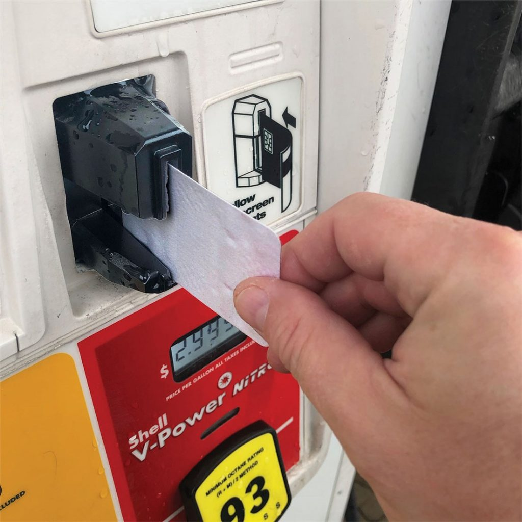 Keep your fuel pump EMV card readers clean with KIC's Waffletechnology cleaning cards